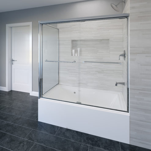 Infinity Semi-Frameless 1/4-inch Glass Sliding Door with Return Bath Tub Door
